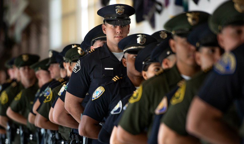 Recruits get ready for the swearing-in ceremony of incoming Orange County Sheriff Don Barnes in Tustin on Monday, January 7, 2019. (Photo by Mindy Schauer, Orange County Register/SCNG)